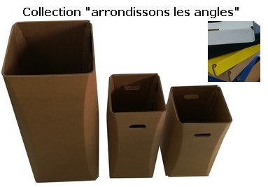 Collection poubelle en carton  arrondissons les angles